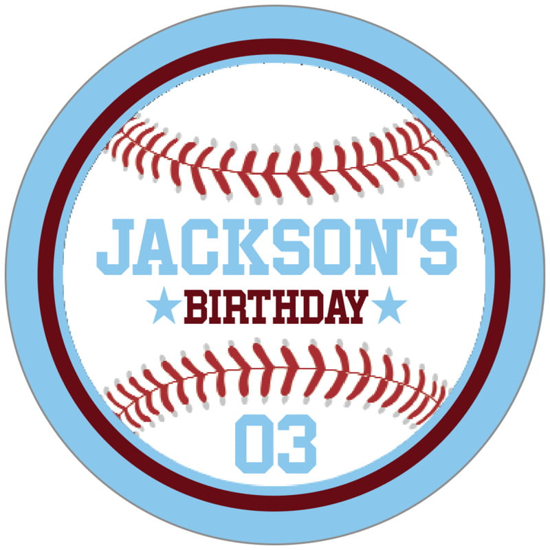circle food/craft labels - maroon & light blue - baseball (set of 20)