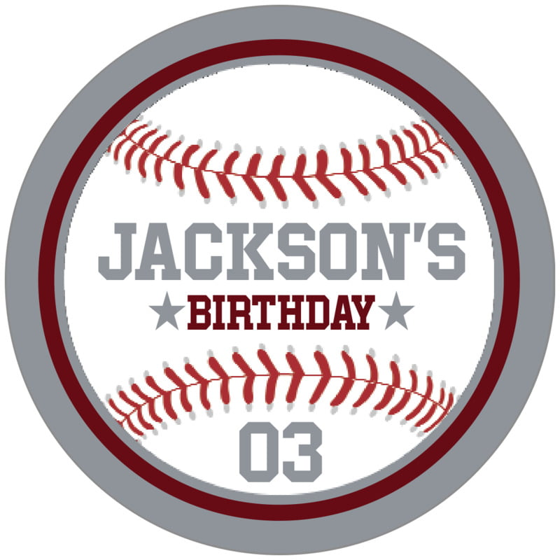 circle food/craft labels - maroon & silver - baseball (set of 20)