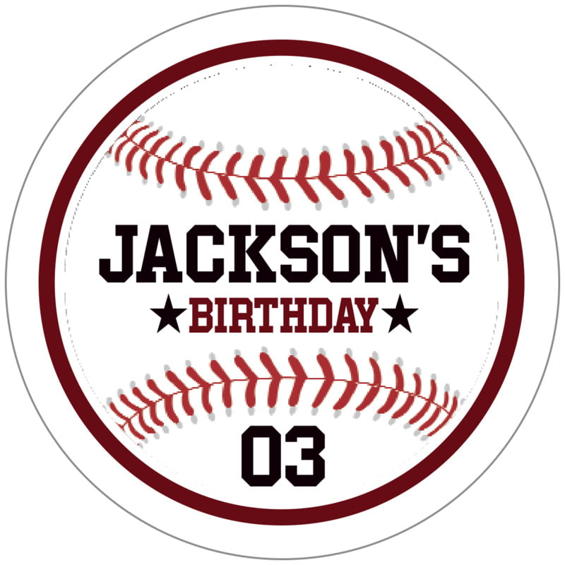 circle food/craft labels - maroon & white - baseball (set of 20)