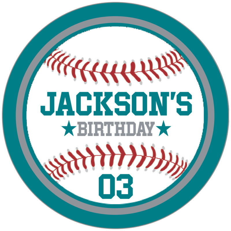 circle food/craft labels - silver & teal - baseball (set of 20)