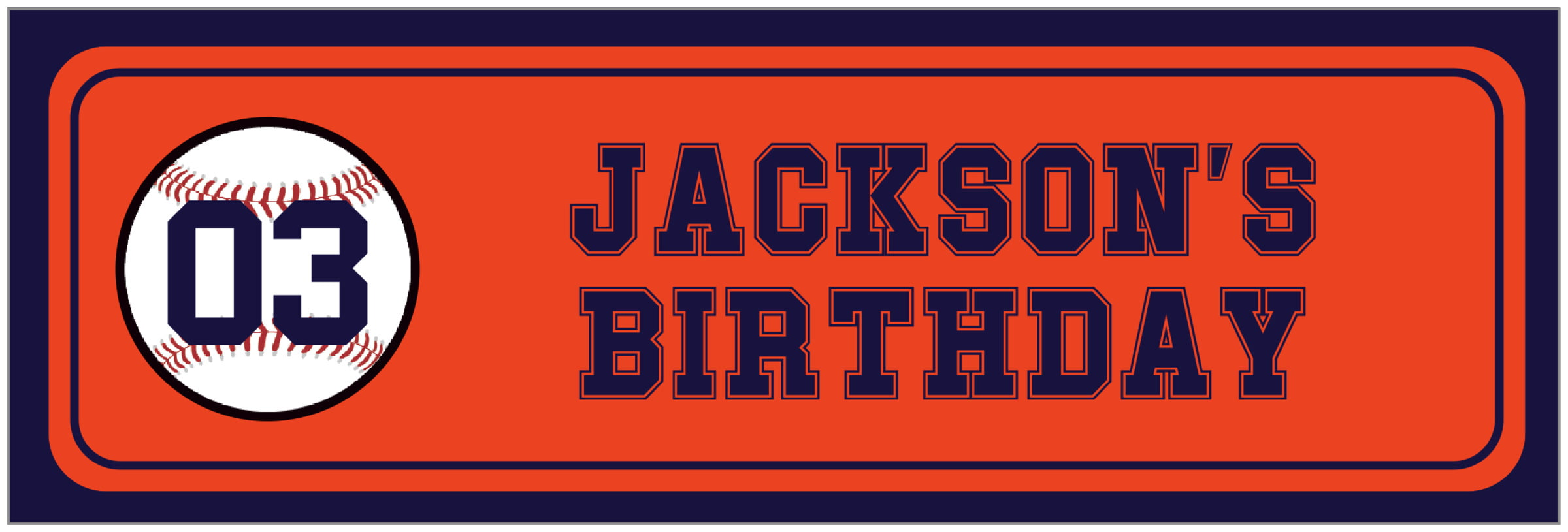 wide food/craft labels - orange & navy - baseball (set of 14)