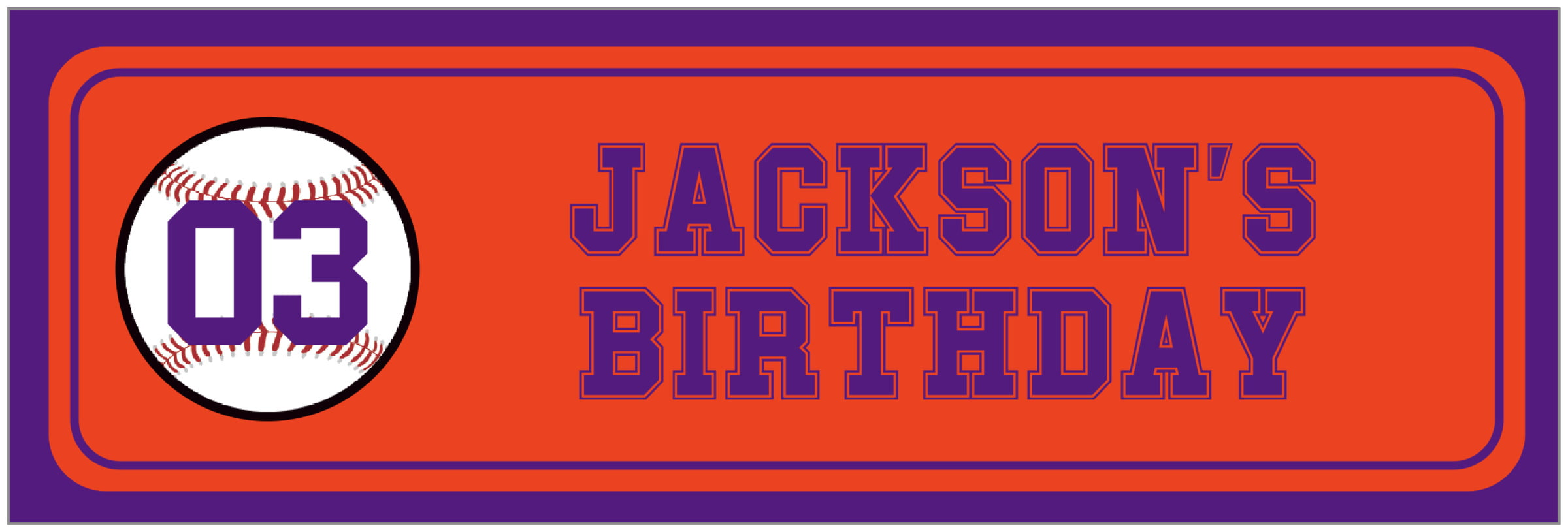 wide food/craft labels - orange & purple - baseball (set of 14)