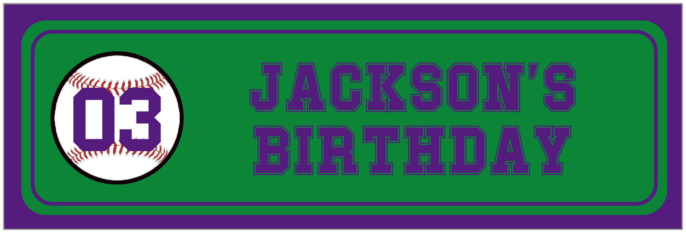 wide food/craft labels - green & purple - baseball (set of 14)