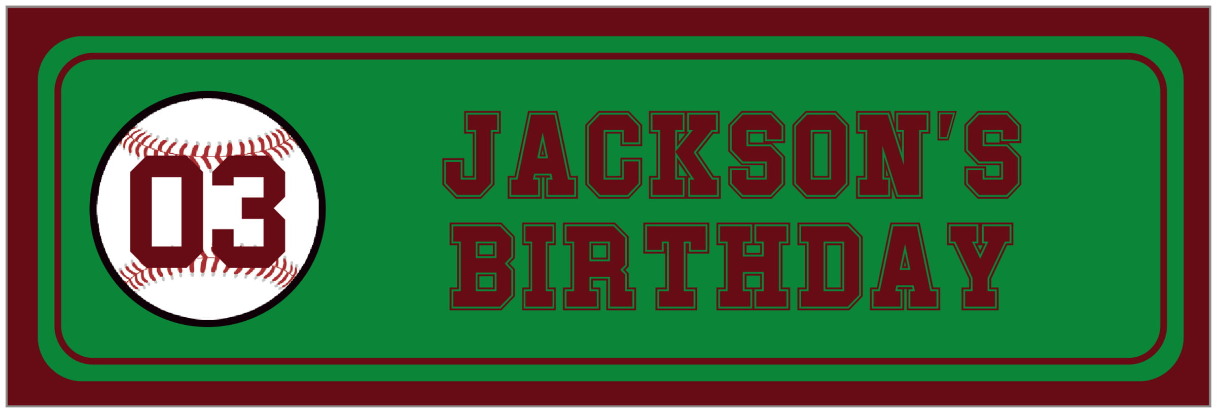 wide food/craft labels - green & maroon - baseball (set of 14)