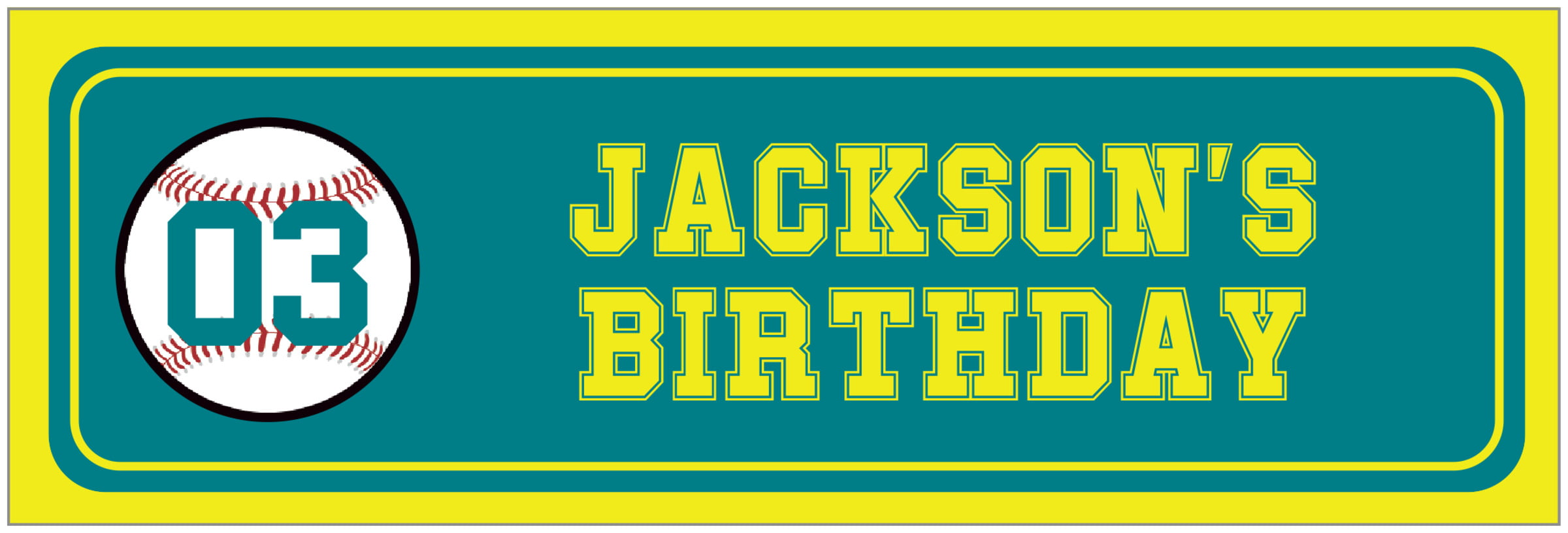 wide food/craft labels - teal & yellow - baseball (set of 14)