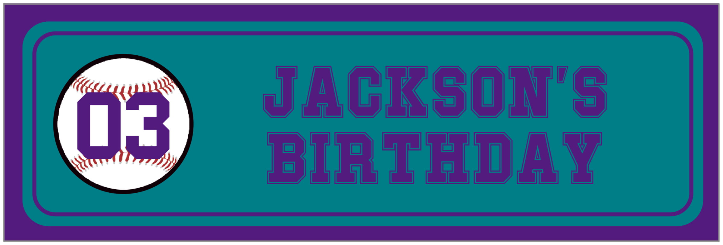 wide food/craft labels - teal & purple - baseball (set of 14)