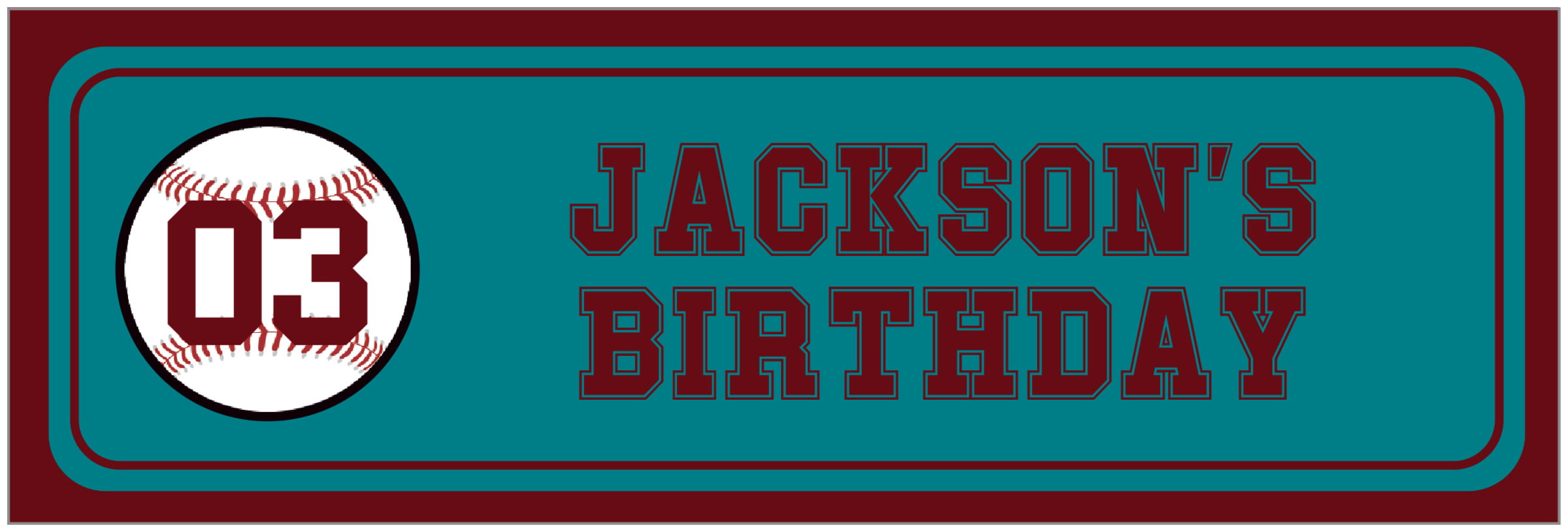 wide food/craft labels - teal & maroon - baseball (set of 14)