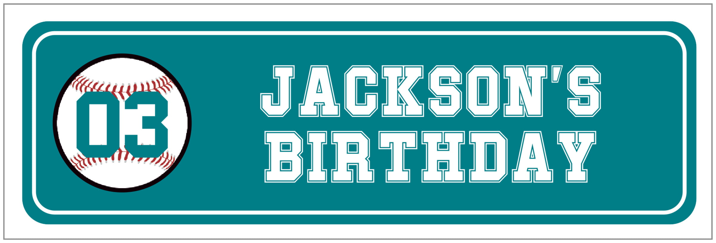wide food/craft labels - teal & white - baseball (set of 14)