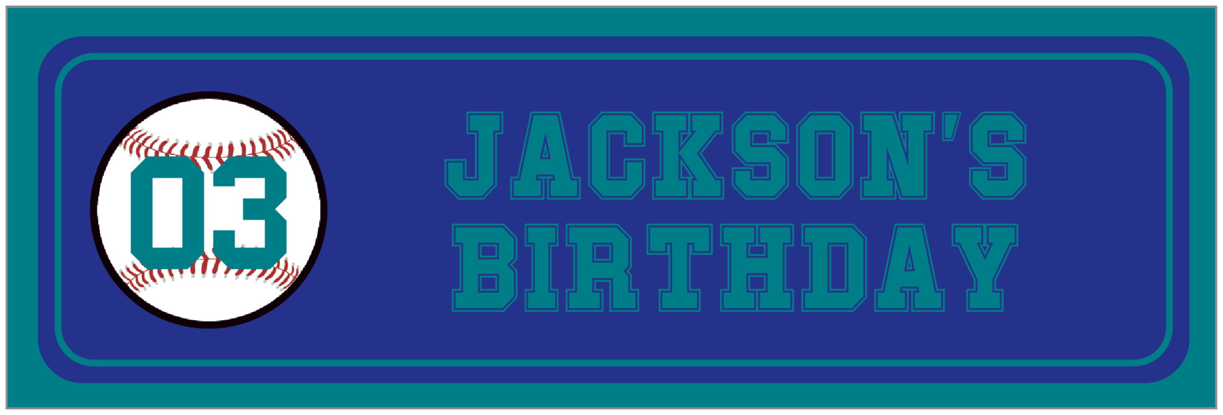 wide food/craft labels - royal & teal - baseball (set of 14)