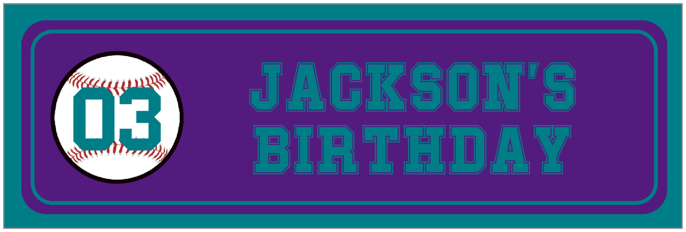 wide food/craft labels - purple & teal - baseball (set of 14)