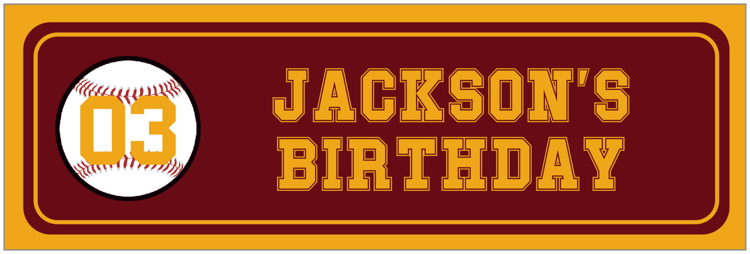 wide food/craft labels - maroon & gold - baseball (set of 14)