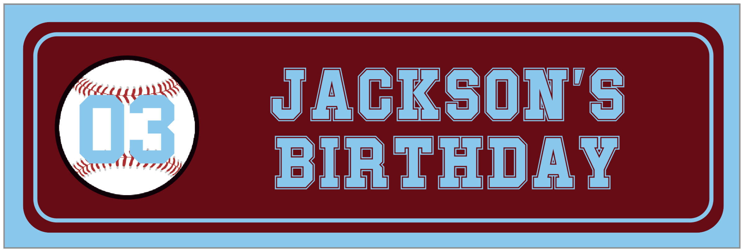 wide food/craft labels - maroon & light blue - baseball (set of 14)
