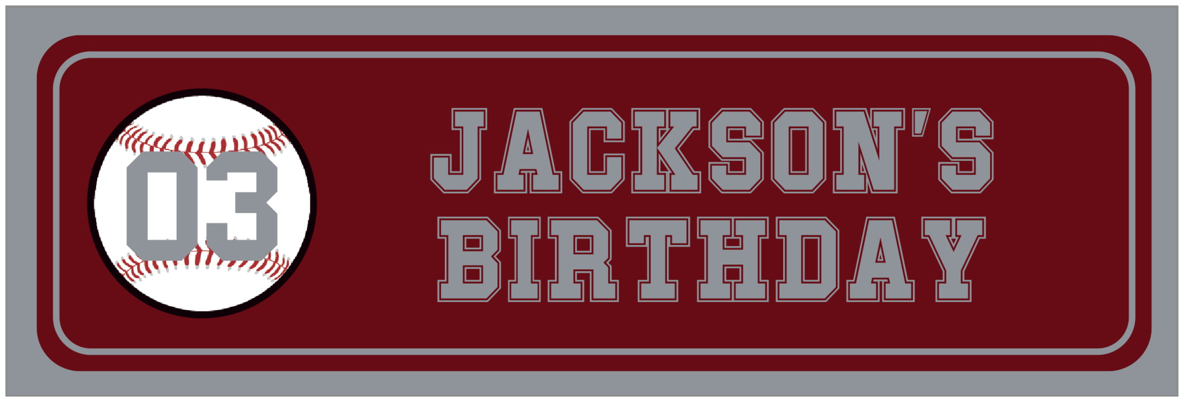 wide food/craft labels - maroon & silver - baseball (set of 14)