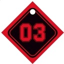 Basketball Small Diamond Hang Tag In Black & Red