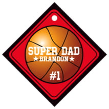 Basketball Diamond Hang Tag In Red & Black