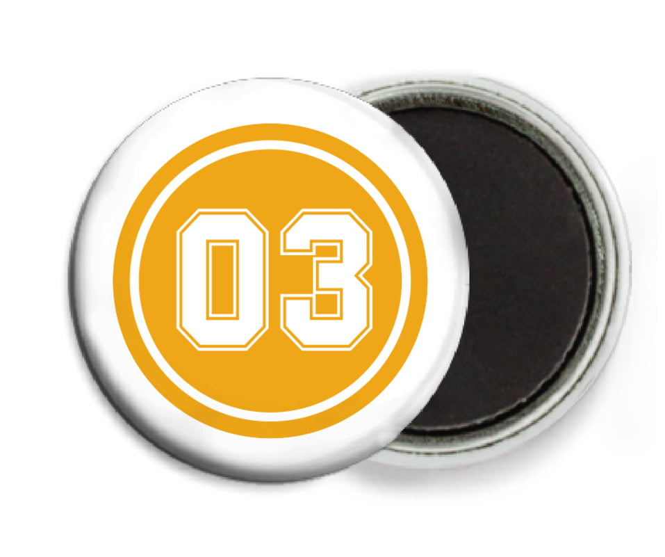 custom button magnets - gold & white - basketball (set of 6)