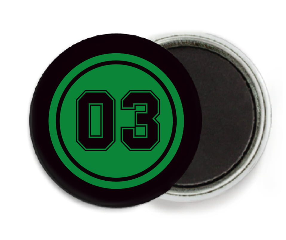 custom button magnets - green & black - basketball (set of 6)