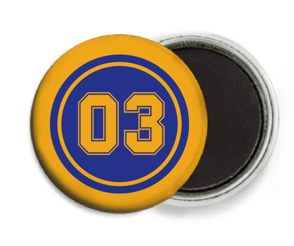 custom button magnets - royal & gold - basketball (set of 6)