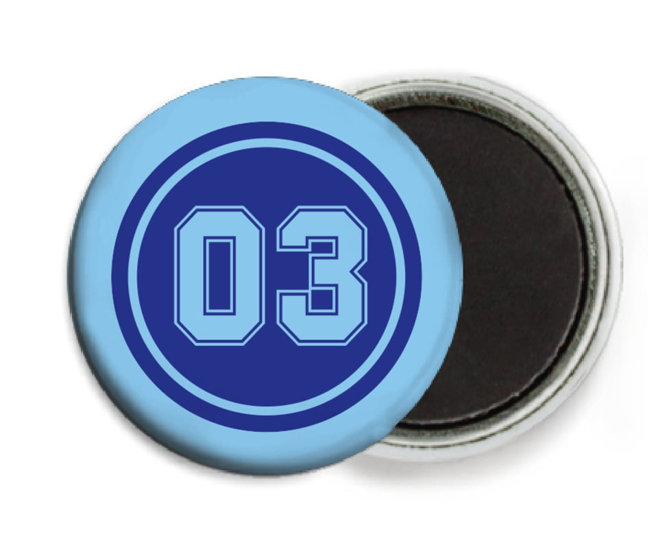 custom button magnets - royal & light blue - basketball (set of 6)