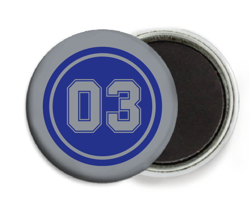 custom button magnets - royal & silver - basketball (set of 6)