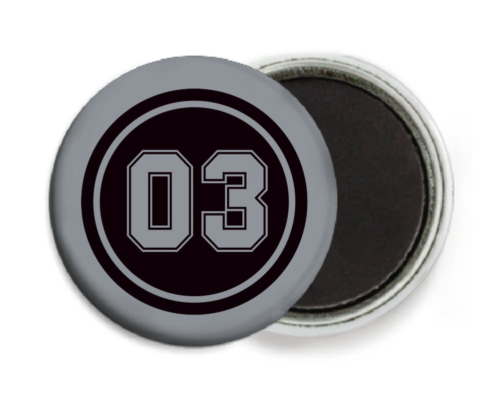 custom button magnets - black & silver - basketball (set of 6)