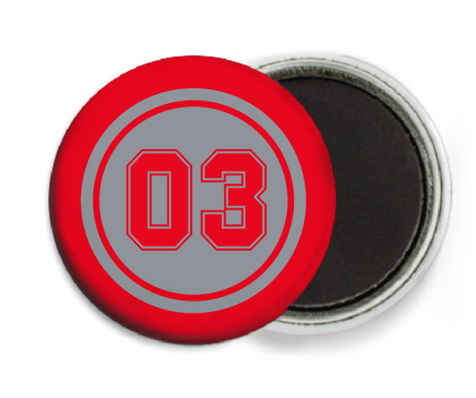custom button magnets - silver & red - basketball (set of 6)