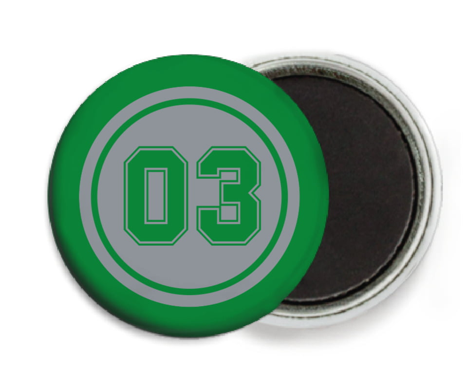 custom button magnets - silver & green - basketball (set of 6)