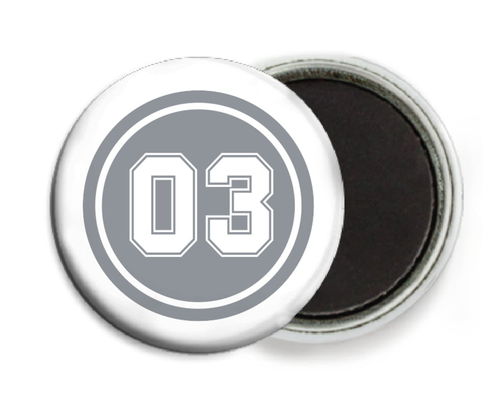 custom button magnets - silver & white - basketball (set of 6)