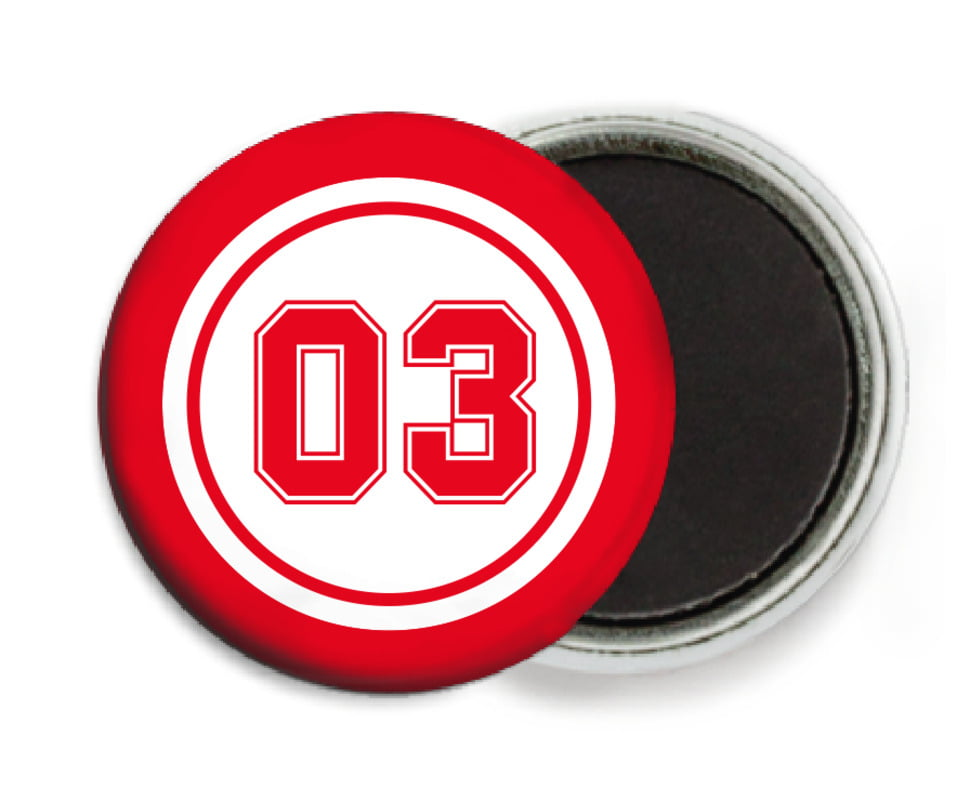 custom button magnets - white & red - basketball (set of 6)