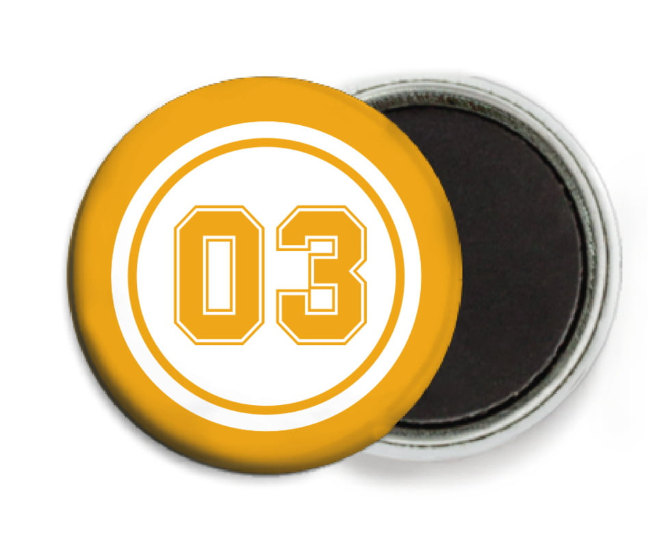 custom button magnets - white & gold - basketball (set of 6)