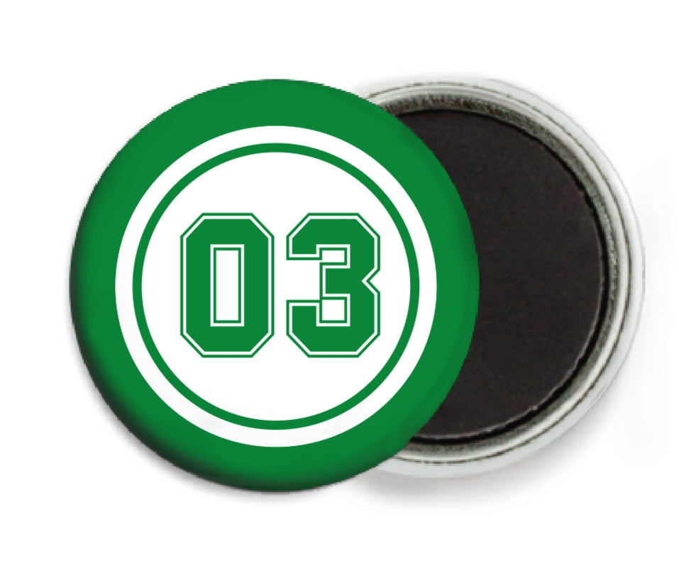 custom button magnets - white & green - basketball (set of 6)