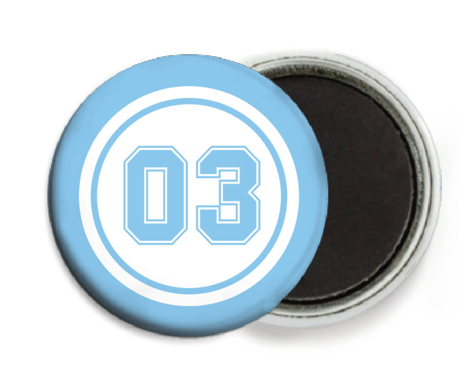 custom button magnets - white & light blue - basketball (set of 6)
