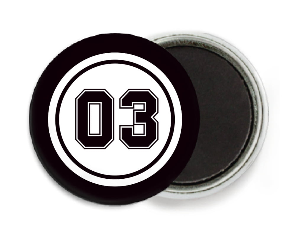 custom button magnets - white & black - basketball (set of 6)