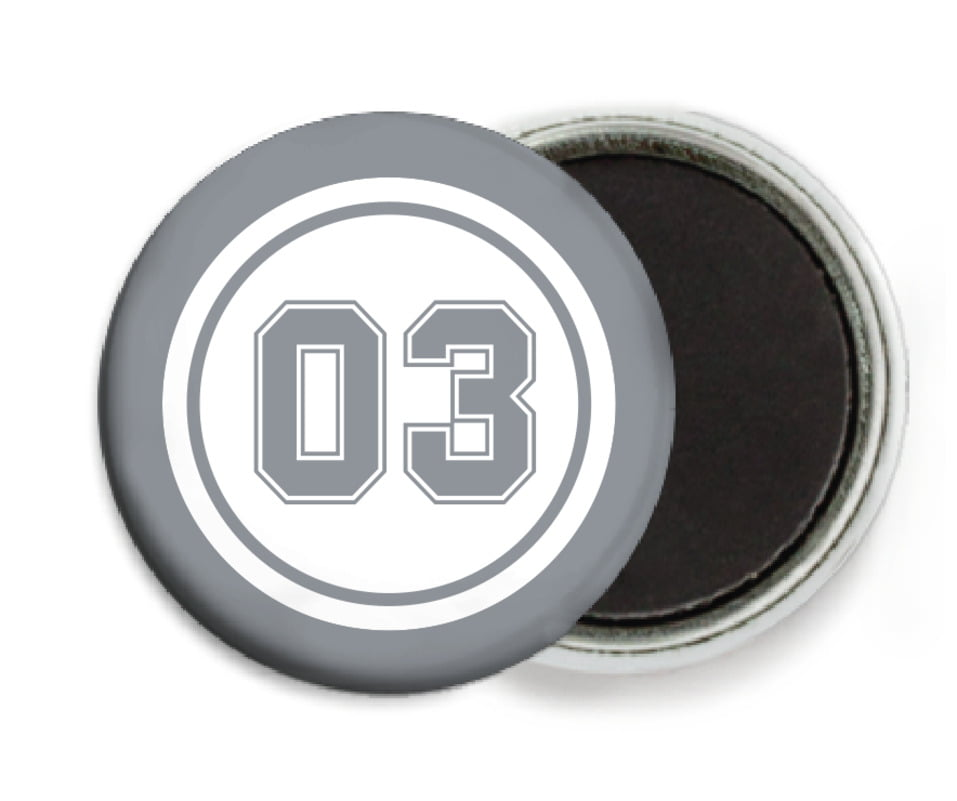 custom button magnets - white & silver - basketball (set of 6)