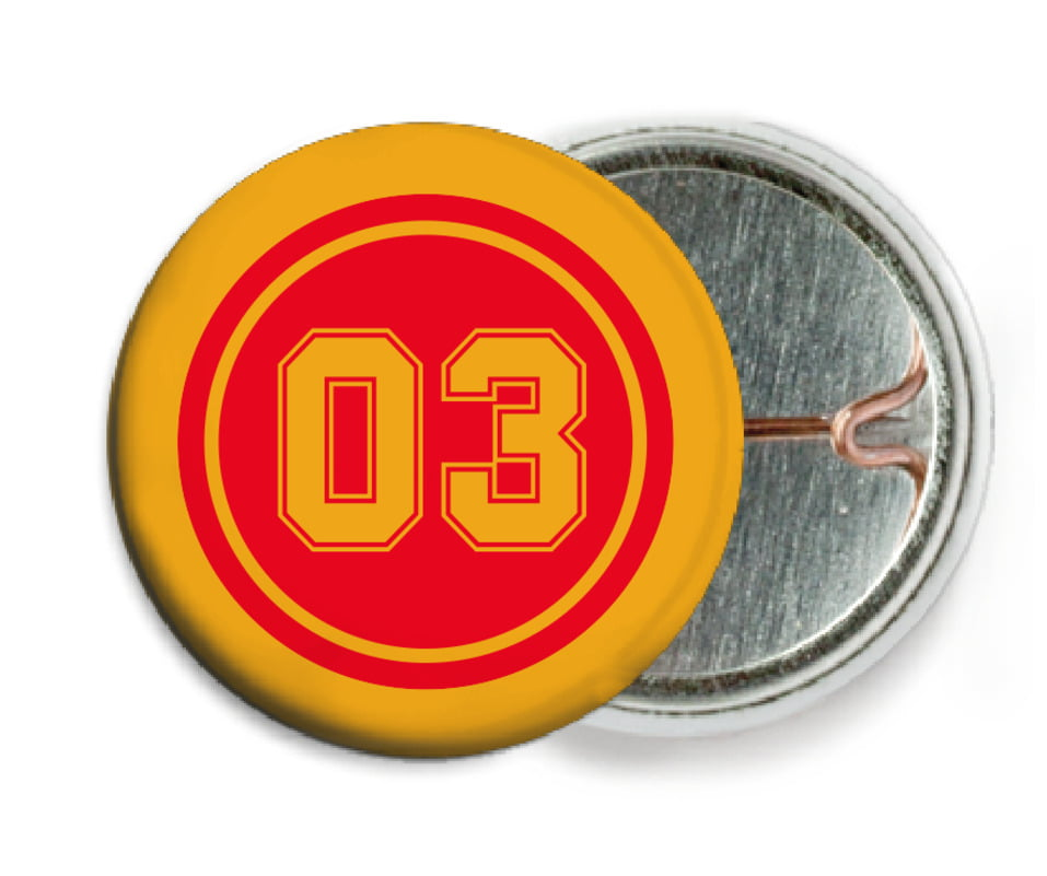 custom pin back buttons - red & gold - basketball (set of 6)