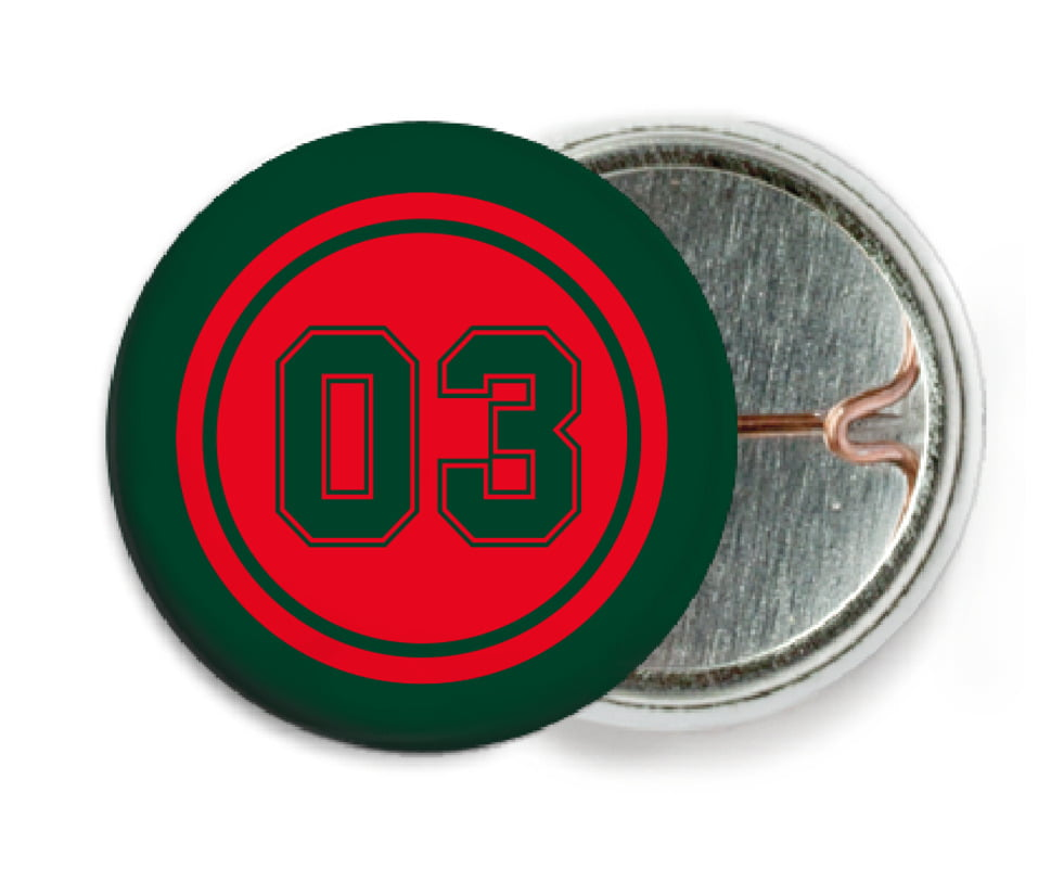 custom pin back buttons - red & forest - basketball (set of 6)