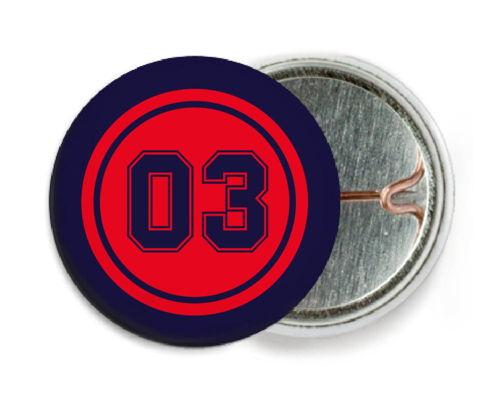 custom pin back buttons - red & navy - basketball (set of 6)