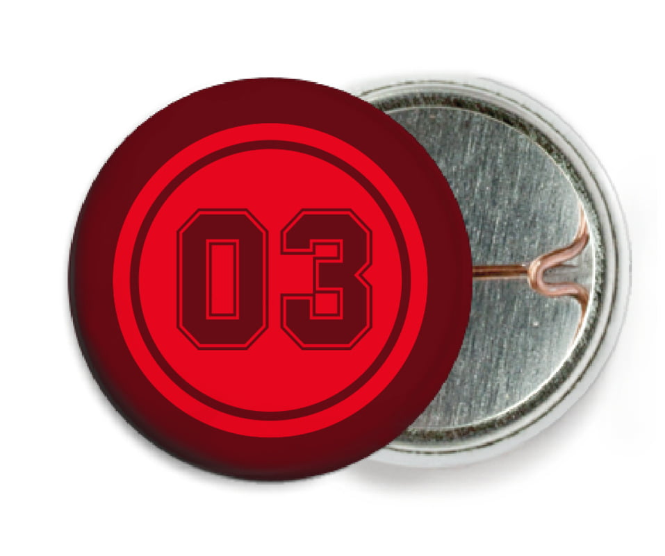 custom pin back buttons - red & maroon - basketball (set of 6)