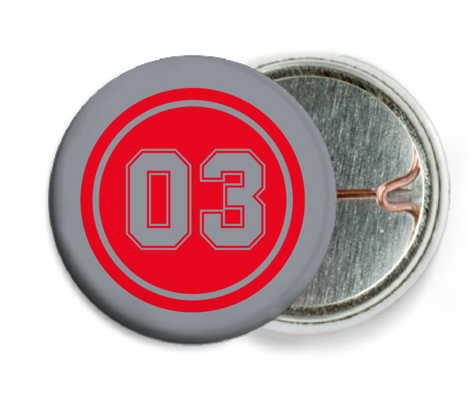custom pin back buttons - red & silver - basketball (set of 6)