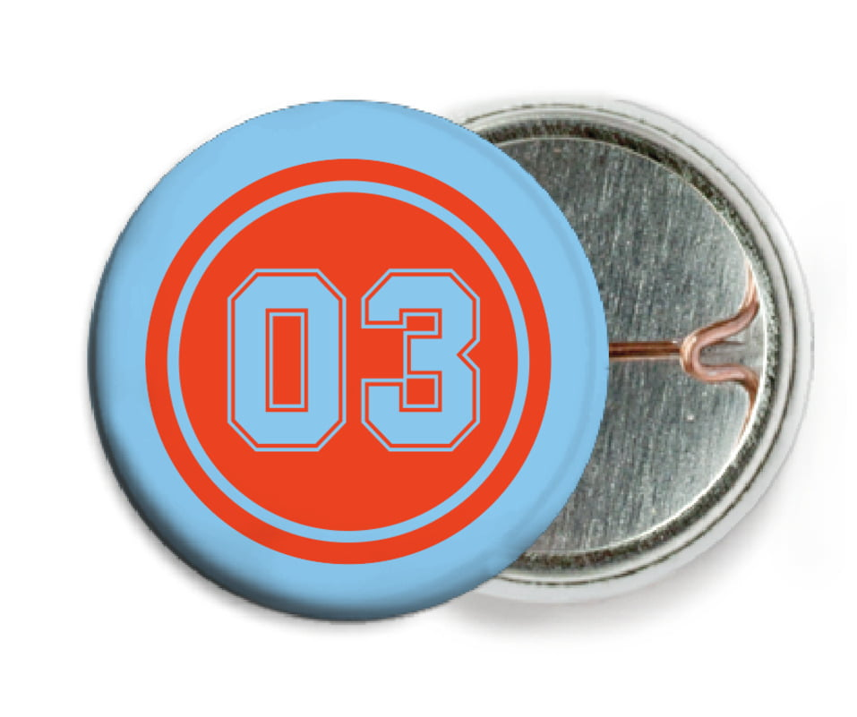 custom pin back buttons - orange & light blue - basketball (set of 6)