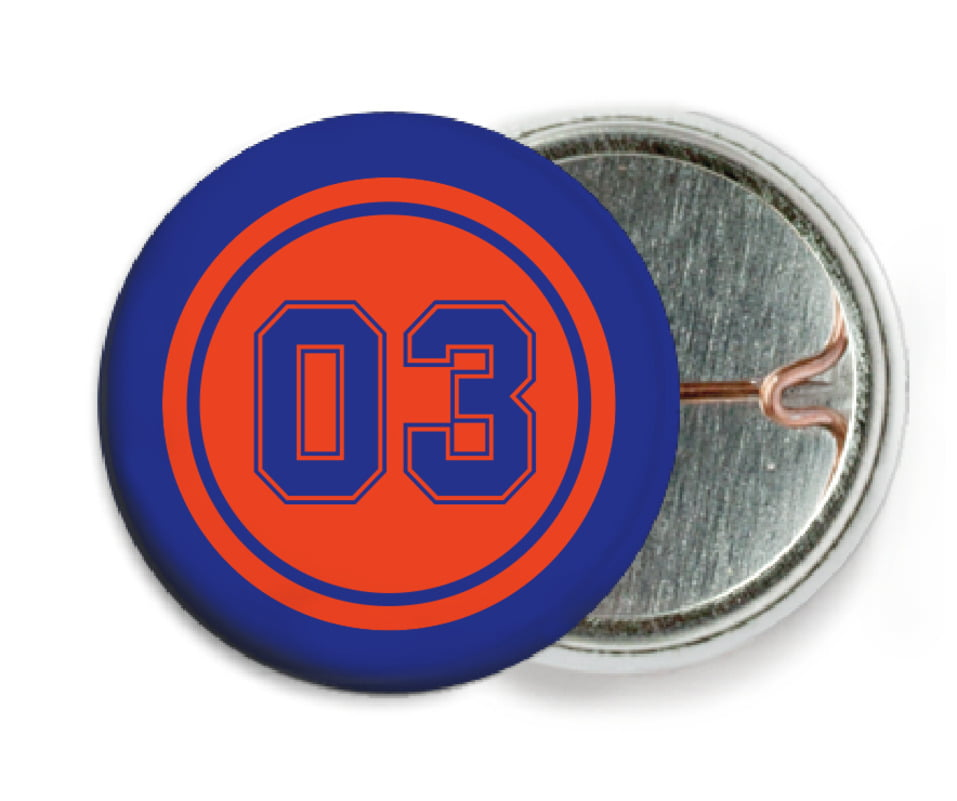 custom pin back buttons - orange & royal - basketball (set of 6)