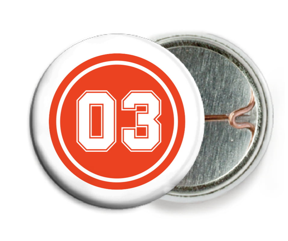 custom pin back buttons - orange & white - basketball (set of 6)