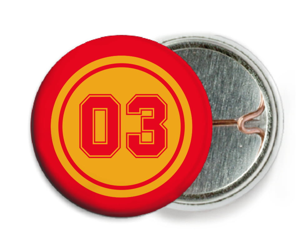 custom pin back buttons - gold & red - basketball (set of 6)