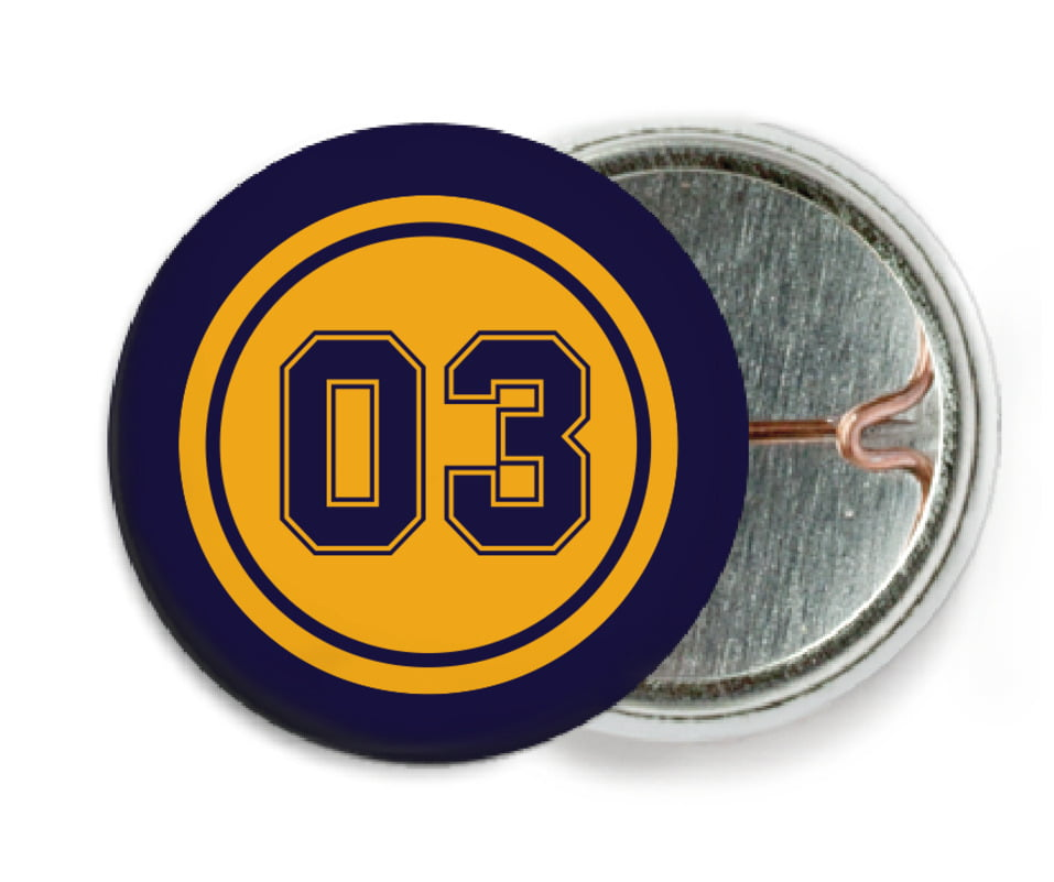 custom pin back buttons - gold & navy - basketball (set of 6)