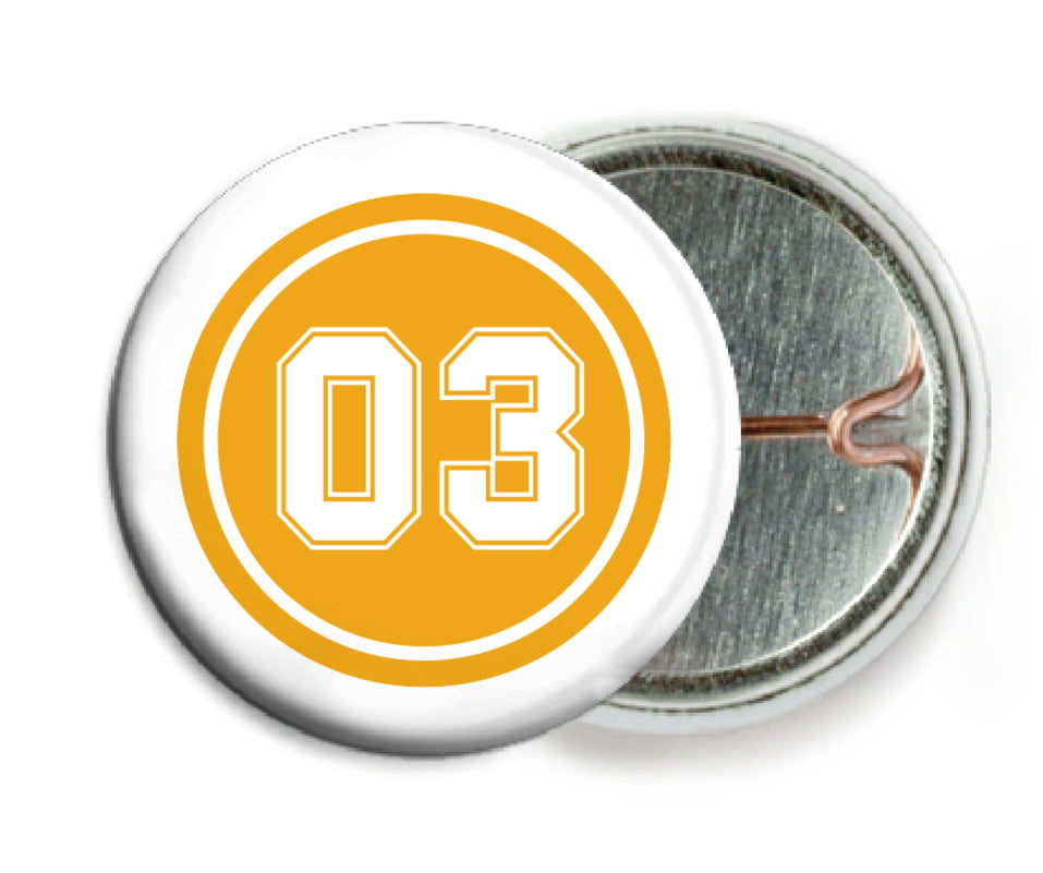 custom pin back buttons - gold & white - basketball (set of 6)