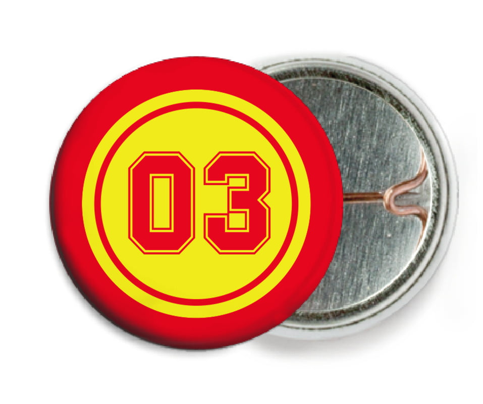 custom pin back buttons - yellow & red - basketball (set of 6)
