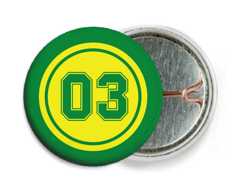 custom pin back buttons - yellow & green - basketball (set of 6)