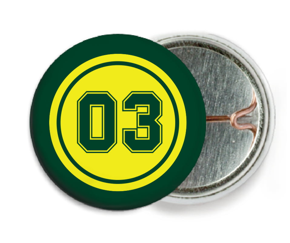 custom pin back buttons - yellow & forest - basketball (set of 6)