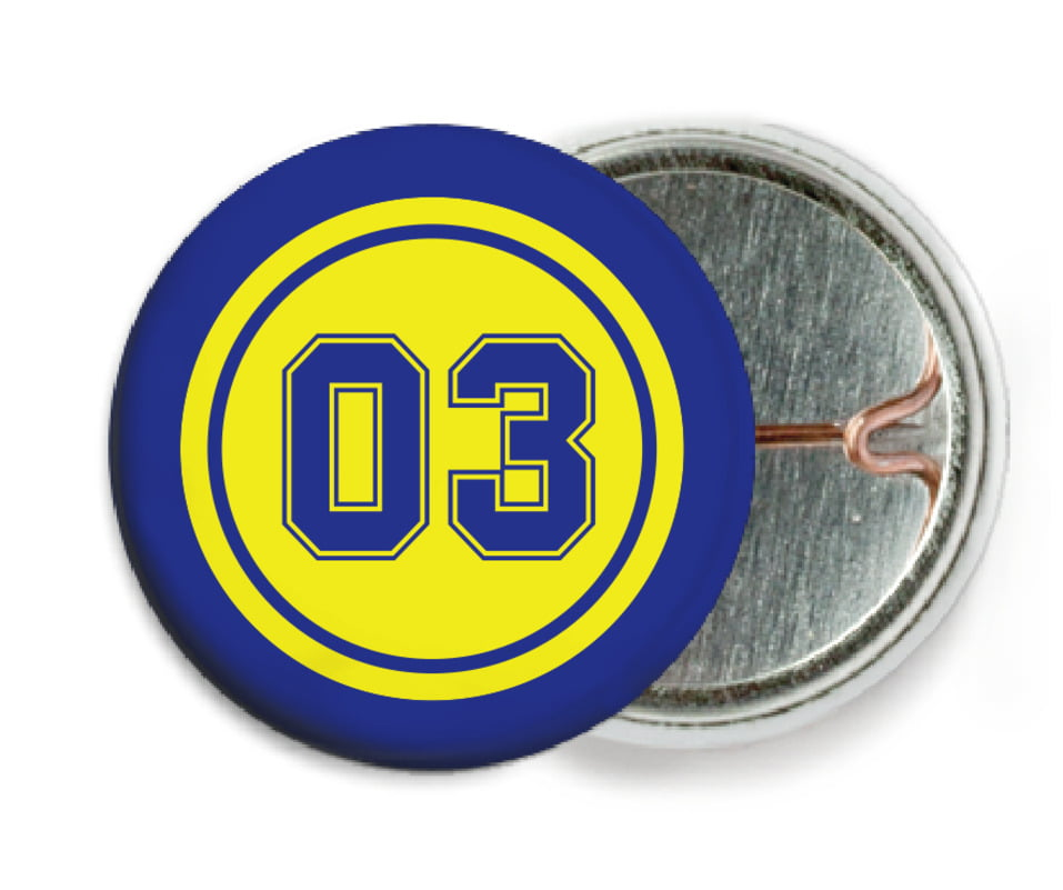 custom pin back buttons - yellow & royal - basketball (set of 6)