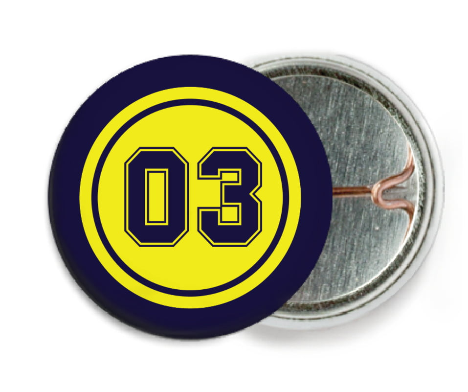 custom pin back buttons - yellow & navy - basketball (set of 6)